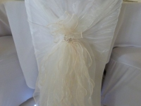 ivory hood and ruffle over chair cover