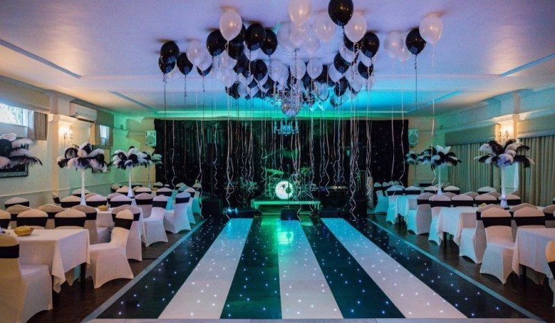 black and white room decor with band