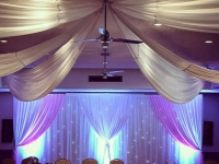 Trieste starlight backdrop with pink side panels and ceiling drapes