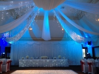 ceiling drapes with lights traditional starlight and table skirts - Copy