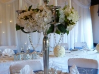 candelabra floral with crystal swags