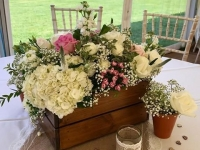 rustic floral crate table centrepieces